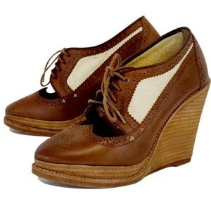 Rag & Bone brown oxford style wedges 38